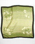 Floral Ombre Print Jacquard Silk Scarf - Olive