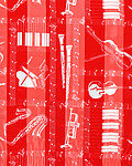 Red Print Scarf - 13x60 Satin Stripe Musical Instruments