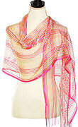 Pink and Ivory Net Metallic Scarf