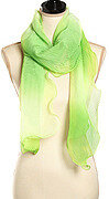 Green Polyester Woven Ombre Color Ruffle Oblong Scarf