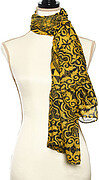 Black and Gold Polyester Abstract Print Oblong Scarf