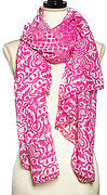 Fuchsia and White Polyester Abstract Print Oblong Scarf