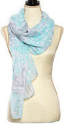Aqua Silver Polyester Butterfly Print Oblong Scarf