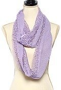 Lavender Polyester Net Solid Color Pompom Infinity Scarf