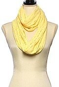 Yellow Polyester Jersey Solid Net Infinity Scarf
