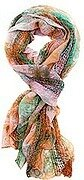 Orange Sage Polyester Net Tie Dyed Oblong Scarf