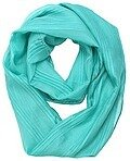 Polyester Chiffon Solid Pleated Infinity Scarf - Blue Green