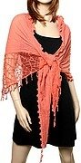 Coral Polyester and Cotton Lace Scarf