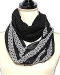 Black and Grey Knit Sequins Stripe Infinity Scarf