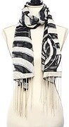 Black and White Woven Target Printed Oblong Scarf and Fringe