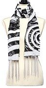 Black and Ivory Woven Target Printed Oblong Scarf and Fringe