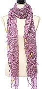Pink and Purple Abstract Printed Scarf With Tassel