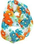 Orange Blue Italian Chiffon Flower Printed Infinity Scarf