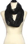 Black Polyester Laser Cut Solid Infinity Scarf