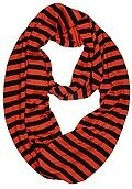 Black and Orange Polyester Stripe Jersey Infinity Scarf