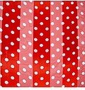 Red and White Polyester 21x21 Satin Stripe Polka-Dots Scarf