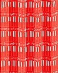 Red Polyester 21x21 Satin Stripe Piano Keyboard Scarf