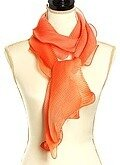 Orange Polyester Woven Ombre Color Ruffle Oblong Scarf