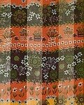 Rust and Gold Polyester 21x21 Satin Stripe Flower Scarf