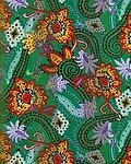 Green Polyester 21x21 Satin Stripe Multi Flowers Scarf