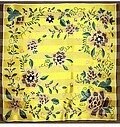 Yellow and Brown Polyester 42x42 Flower Scarf