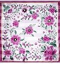 Fuchsia and Light Pink Polyester 42x42 Flower Scarf