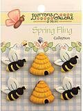Spring Fling Buttons - Busy Bees