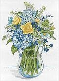 Blue and Yellow Floral - Cross Stitch Kit