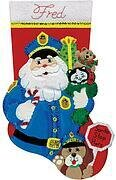 Policeman Santa Christmas Stocking - Felt Applique Kit