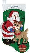 Santa and Reindeer Christmas Stocking Felt Applique Kit