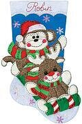 Sock Monkey Christmas Stocking - Felt Applique Kit