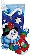 Snowflake Snowman Christmas Stocking Felt Applique Kit