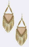 Intricate Faux Triangle Gem Bar Fringe Drop Earrings - Peach