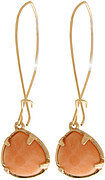 Teardrop Cut Stone Accent Dangle Earring - Peach