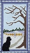 Puppy at the Door on a Winter Day - Cross Stitch Pattern