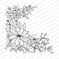 Poinsettia Sketch Christmas - Cling Rubber Stamp
