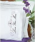 Love You/Love You More Lace Edge Pillowcases - Embroidery