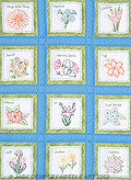 "Flowers 9"" White Quilt Square Themes - Embroidery Kit"