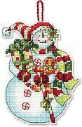Snowman with Sweets (Christmas Ornament) - Cross Stitch Kit