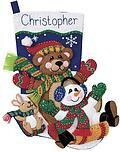 Toboggan Trio Christmas Stocking Felt Applique Kit
