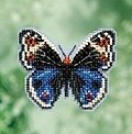 Blue Pansy Butterfly - Beaded Cross Stitch Kit