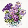 Irises In Vase - Cross Stitch Kit