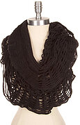 Fluffy Solid Net Knit Infinity Scarf - Black