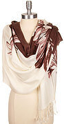 Lily Print Fringe Ends Scarf - Brown