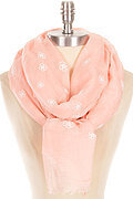 Pretty Flower Stamp Wrinkled and Frayed Scarf - Peach