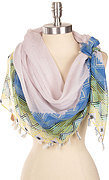 Chevron Print Tassel Edged Square Scarf - Blue