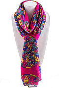 Geometry Colorful 3D Tire Print Scarf - Fuchsia