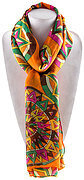 Geometry Colorful 3D Tire Print Scarf - Orange