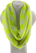 Square Chess Board Print Infinity Scarf - Yellow
