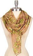Pretty Floral Print Scarf - Yellow